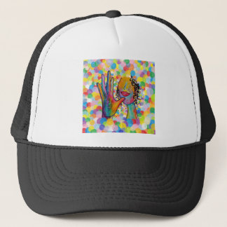 ASL Mother on a Bubble Background Trucker Hat