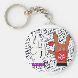 ASL Peace Love Let's Be Friends Key Ring