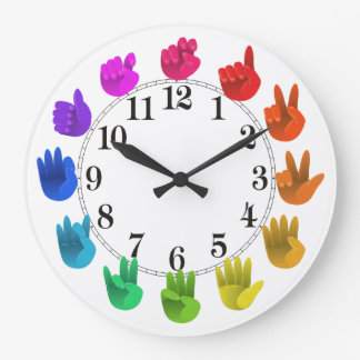 ASL Sign language rainbow colour wheel light Large Clock
