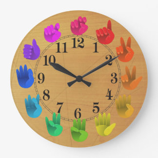 ASL Sign language rainbow colour wheel wood Large Clock