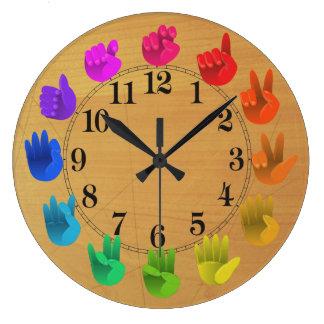 ASL Sign language rainbow colour wheel wood Wallclock