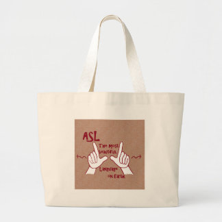 ASL The Most Beautiful Language Large Tote Bag