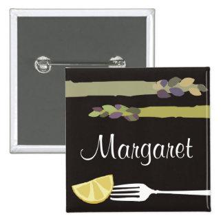 Asparagus fork lemon culinary name tag badge
