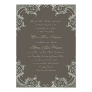 "Asparagus Sage Damask Edge Wedding Invitation 5"" X 7"" Invitation Card"