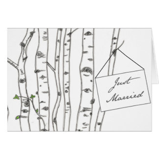 Aspen Birch Tree Just Married Thank You Note Card