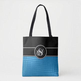 Aspen Blue Monogram Tote Bag