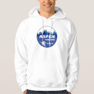 Aspen Colorado blue ski art guys hoodie