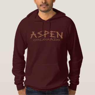 Aspen Colorado guys rustic tree word hoodie