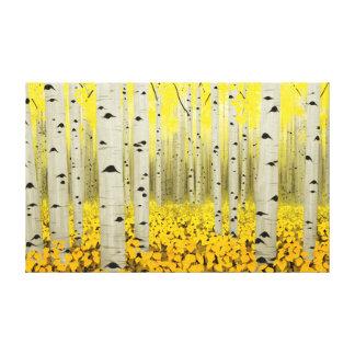 Aspen Grove in Fall Yellow Canvas Print