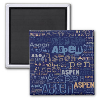 Aspen Grunge Text Collage Square Magnet