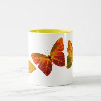 Aspen Leaf Butterflies Two-Tone Coffee Mug