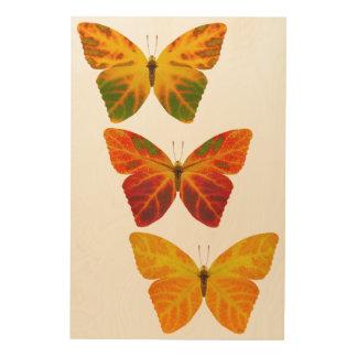 Aspen Leaf Butterflies Wood Wall Decor