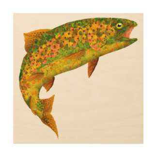 Aspen Leaf Rainbow Trout 2 Wood Print