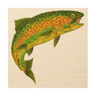 Aspen Leaf Rainbow Trout 4 Wood Print