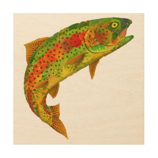 Aspen Leaf Rainbow Trout 5 Wood Wall Art