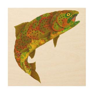Aspen Leaf Rainbow Trout 6 Wood Print