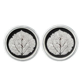 Aspen Leaf Skeleton 1 Cuff Links