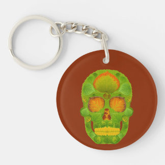 Aspen Leaf Skull 10 Double-Sided Round Acrylic Key Ring
