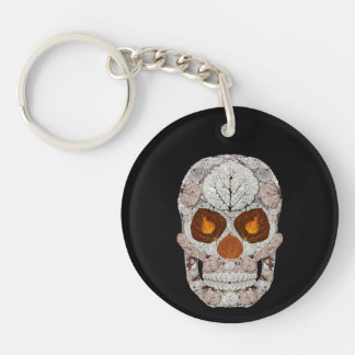 Aspen Leaf Skull 11 Double-Sided Round Acrylic Key Ring