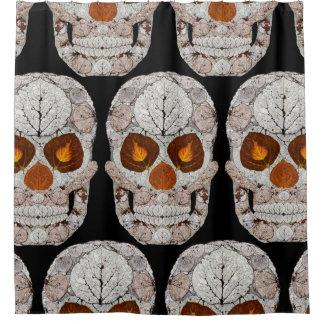 Aspen Leaf Skull 11 Shower Curtain