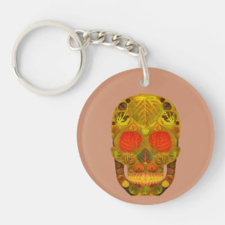 Aspen Leaf Skull 12 Double-Sided Round Acrylic Key Ring
