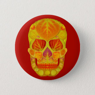 Aspen Leaf Skull 13 6 Cm Round Badge