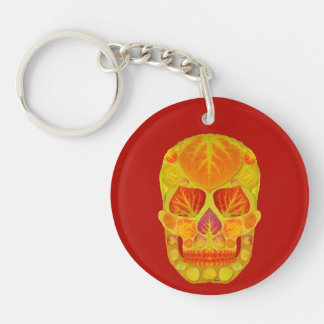 Aspen Leaf Skull 13 Double-Sided Round Acrylic Key Ring