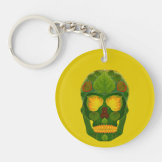 Aspen Leaf Skull 9 Double-Sided Round Acrylic Key Ring