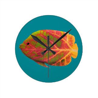 Aspen Leaf Tropical Fish 1 Wall Clock