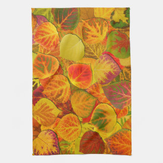 Aspen Leaves Collage Solid Medley 1 Kitchen Towels