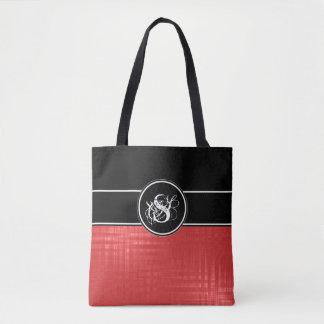 Aspen Red Monogram Tote Bag