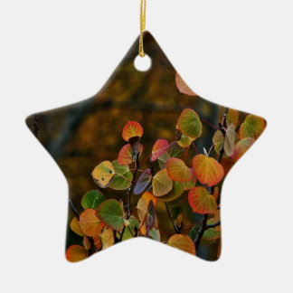 ASPEN TREE BRANCHES WITH FALL COLORED LEAVES CERAMIC ORNAMENT