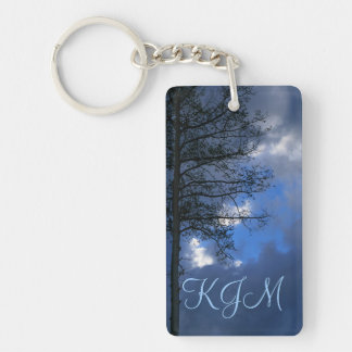 Aspen Tree in the Clouds Monogram Double-Sided Rectangular Acrylic Key Ring