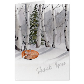 Aspen trees and sleeping fox card