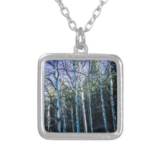 Aspen trees in the fall silver plated necklace