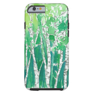 Aspen Trees Pen and Ink Green Watercolor Art Tough iPhone 6 Case
