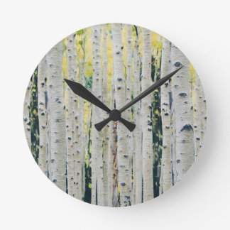 Aspens Forest - Painted Round Clock