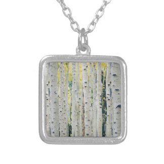Aspens Forest - Painted Silver Plated Necklace