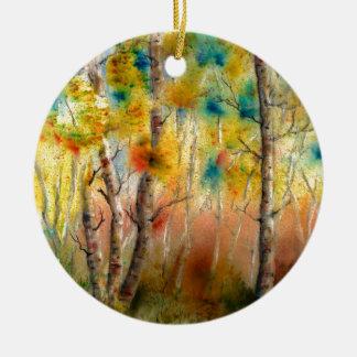 Aspens in Fall Round Ceramic Decoration
