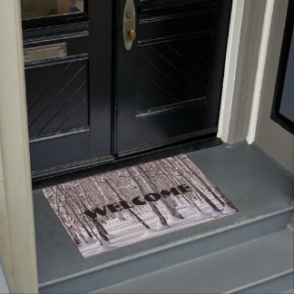 Aspens Trunks & Snow Blend Photograph Doormat