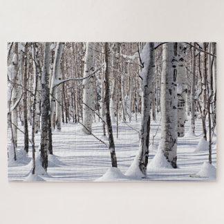 Aspens Trunks & Snow Blend Photograph Jigsaw Puzzle