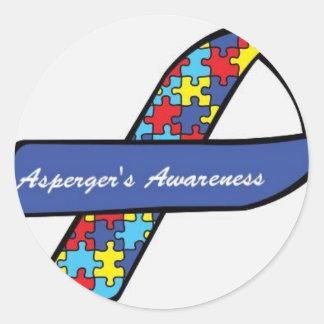 Asperger's Awareness Ribbon Round Sticker