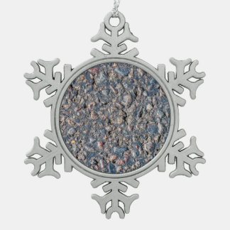 Asphalt and pebbles texture snowflake pewter christmas ornament