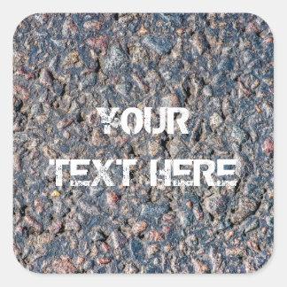 Asphalt and pebbles texture square sticker