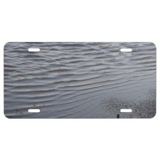 Asphalt Puddle Silver Gray Urban Art Water Ripple License Plate