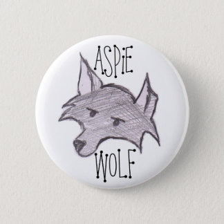 Aspie Wolf Button