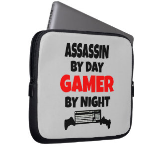 Assassin by Day Gamer by Night Computer Sleeves