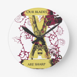 assassin our blades are sharp round clock