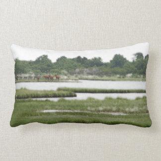 Assateague Island Wild Ponies Cotton Pillow