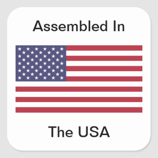 Assembled In The USA Square Sticker